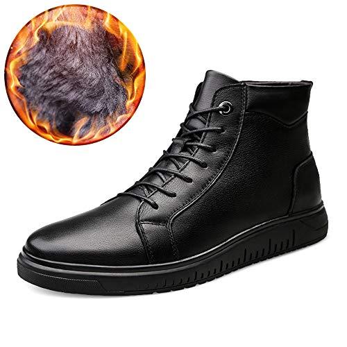 HuiLai Zhang Men's Fashion Enkellaarsjes Casual Trend zachte warme Velvet Winter Shoes (Conventionele optioneel) (Color : Warm Black, Size : 37 EU)