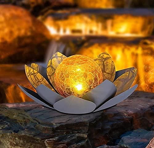 Flor de loto decorativa para jardín, decoración solar, para exteriores, luces decorativas, efectos de luz de ensueño gracias a su aspecto de cristal roto