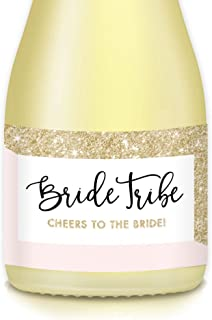 BRIDE TRIBE Mini Champagne & Wine Bottle Labels, Pop the Bubbly & CHEERS to the Bride! Set of 20 Sparkly Pink & Gold WATERPROOF Stickers, Bachelorette Brunch, Engagement Hen Party, Favors, Gift Bags