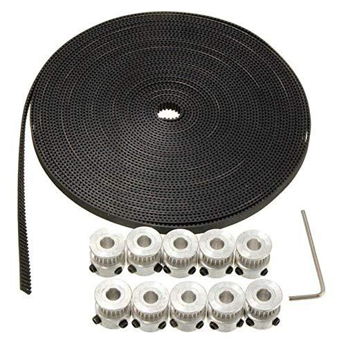 ZGQA-GQA Computer Accessories, 10M Timing Belt 20 Teeth GT2 Aluminium Pulley for 3D Printer