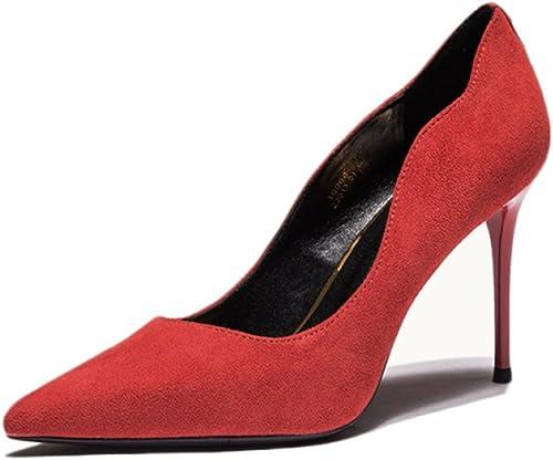 Femme Rouge Talons Hauts Mode Sexy Travail Tribunal Chaussures De Mariage Nightclub Femme Haut Talon Rivet Chaussures Partie,rouge-8.5cm-EU 35 UK 3