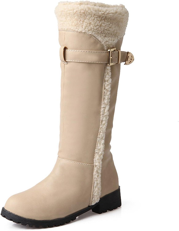 AIWEIYi Womens Elegant Fur Belt Buckles Flat Winter Snow Boots Knee High Riding Boots Black