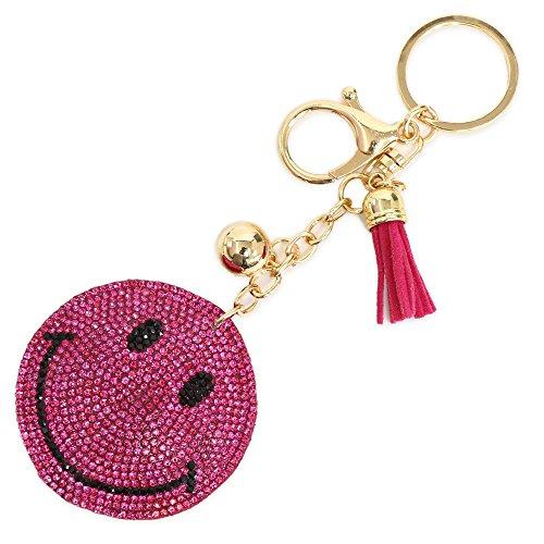[ジュエルボックス] JewelVOX キーホルダー チャーム スマイル ストーン 敷き詰め タッセル付 バッグ ピンク 選択