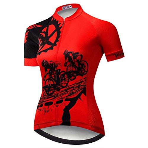 Fahrradtrikot aus Jersey für Damen, Mountainbike-Trikot, kurzärmelig, Rennrad-Kleidung, MTB-Oberteil, Sommerkleidung -  -  Etikett M/Brust 81/86 cm