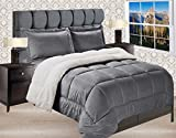 Elegant Comfort Premium Quality Heavy Weight Micromink Sherpa-Backing Reversible Down Alternative Micro-Suede 3-Piece Comforter Set, Full, Grey