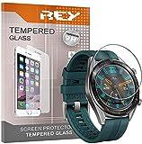 REY 3X Protector de Pantalla para Huawei Watch GT - Watch GT Active - Watch GT 2 42mm, Cristal Vidrio Templado