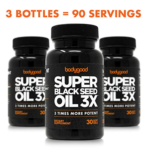 Black Seed Oil 3X. 3 Bottle Pack, 90 Servings. Triple Potency, Cold-Pressed Softgels with 3% Thymoquinone. for Immunity, Joints, Inflammatory Response, Digestion, Heart, Hair and Skin.