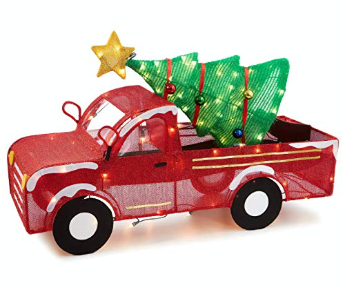 33 Inch Wide - Light-Up Tinsel Truck with Holiday Christmas Tree, Pre-Lit with 100 Lights