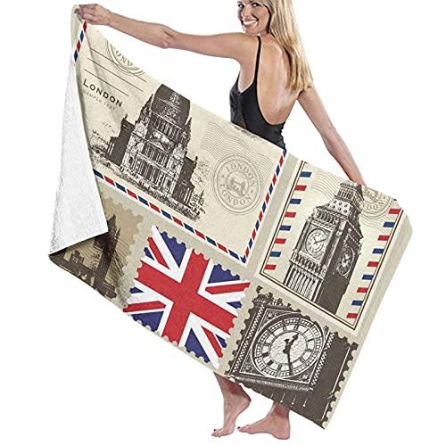 Toallas de baño Grandes,Londres Vintage,Toallas de Playa Secado rápido para Uso Diario,80 x 130cm