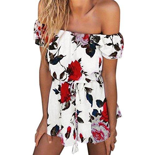 MRULIC Frauen Sommer Strand Blumendrucken Jumpsuit Clubwear Bodycon Playsuit Strampler(Weiß,EU-38/CN-M)
