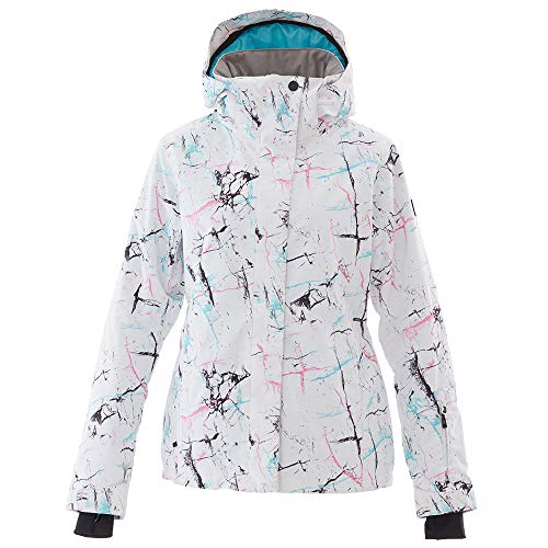 Mous One Wasserdichte Skijacke für Damen, bunte Snowboardjacke und Trägerhose - Wei� - X-Small