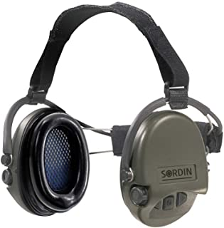 Sordin Supreme PRO Neckband Safety Ear Muffs - Active Hearing Protection - Perfect for Helmets SNR: 25dB - Green - 76302