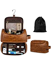 Elviros Toiletry Bag, Mens Leather Travel Organizer Kit with hanging hook, Large Water-resistant Toiletries Bathroom Shaving Bags for Women