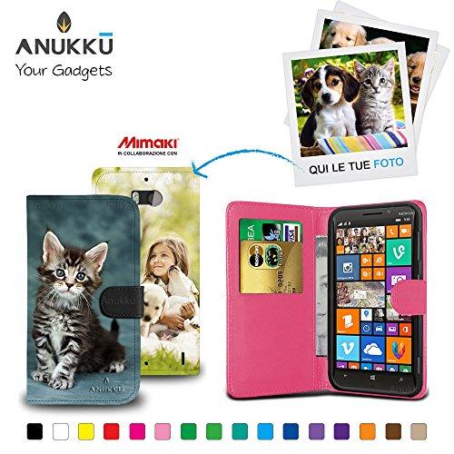 Anukku Custodia Flip Cover Stand Portafoglio in Pelle Personalizzata con la Tua Foto, Immagine o Scritta. Stampa di qualità Fotografica con Mimaki per Nokia Lumia 930 Colore Fucsia