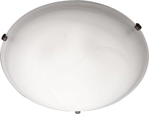 "high quality Maxim 2681MROI Malaga Marble Glass Round Flush Mount, 3-Light 2021 180 Total Watts, 4""H sale x 16""W, Oil-Rubbed Bronze online"