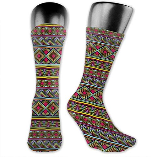 Papalikz Compression Medium Calf Socks,Colorful Ethnic Diamond Motifs With Angled Lines Lively Palette Geometric Borders