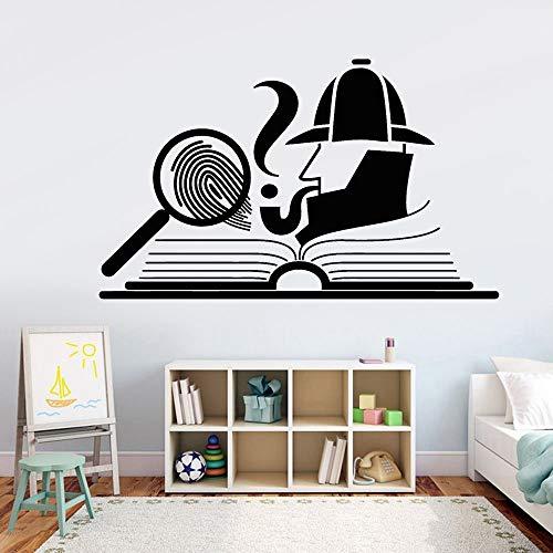 XCSJX Detective Adhesivo de Pared Detective Huella Digital Lupa Libro Libro Abierto Patrón de Dibujos Animados Vinilo Adhesivo de Pared Decoración del hogar Habitación para niños 85.5x51cm