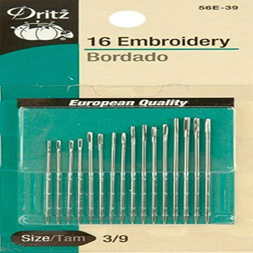 Dritz 56E-510 Embroidery Hand Needles, Size 5/10 (16-Count)