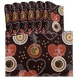 Juego de Mantel Individual de corazón con Taza de Granos de café de 6 tapetes de Mesa Lavables Resistentes al Calor para Cocina Comedor Decorativo
