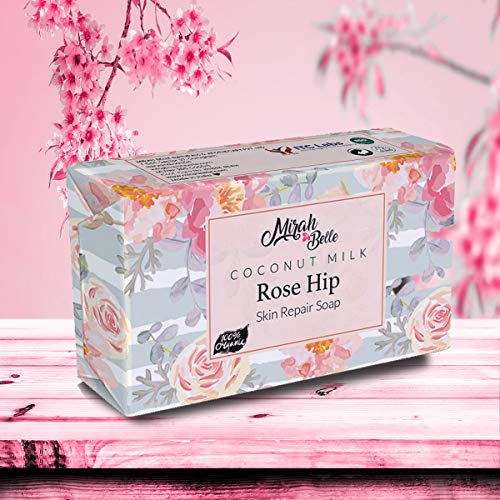 Mirah Belle Moisturising, Softening and Smoothening Skin Handmade, Vegan and Cruelty Free Coconut Milk, Rosehip Soap Bar For Dry and Rough Skin Best for Winters- 125 gm