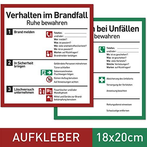 NEU Verhalten im Brandfall und bei Unfällen (Aufkleber Set - 18x20cm) - Plakat für Büro und Betrieb nach ISO 7010 - Erste Hilfe Schild für Brand und Unfall - Aushang Notfallplan für Brandschutz