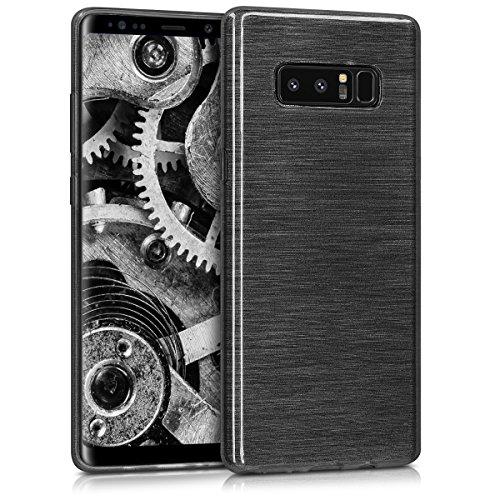 kwmobile Hülle kompatibel mit Samsung Galaxy Note 8 DUOS - Hülle Handy - Handyhülle - Brushed Aluminium Anthrazit Transparent