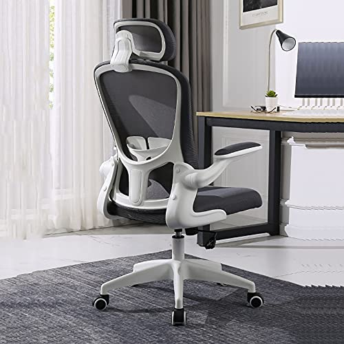 Sedia da Ufficio ergonomica in Rete, Sedia da scrivania con Schienale Alto con braccioli ribaltabili, Funzione di inclinazione, Supporto Lombare e Ruote in PU