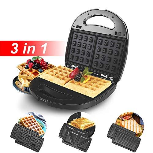 3-in-1 wafelijzer Broodrooster Ontbijtmachine met 3 vervangbare aluminium grill Anti-aanbakplaten, Automatische temperatuurregeling, Antislipvoetjes