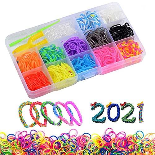 Gomas para hacer pulseras 600 pcs Kit de Pulseras de Goma,DIY para Hacer Joyas para Niños Pulseras Banda de Telar Juego creativo para niños (B)