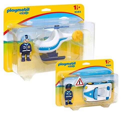 Playmobil 1-2-3 Police Set: 9383 Police Helicopter & 9384 Police Car