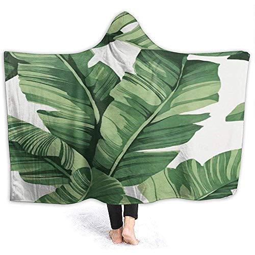 Simone-Shop Banana Tree Leaves mantel met capuchon, zachte flanellen deken met capuchon, draagbare deken met capuchon
