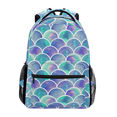 ZZKKO Colorful Mermaid Scale Boys Girls School Computer Backpacks Book Bag Travel Hiking Camping Daypack
