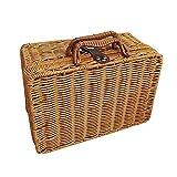 Seagrass Storage Baskets with Lids, Woven Rectangular Basket Bins, Wicker Storage Organizer for Shelf for Tool, Clothes, Blanket , Towel, Toy, Magazine, Books( 22x17x10cm )