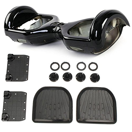 HoverFixer Replacement Plastic Shell Case Housing Cover with LED, Rubber Sensor Foot Pedal, Indicator Cover for Electric Self Balance Scooter, Easy DIY Repair Body (Black)