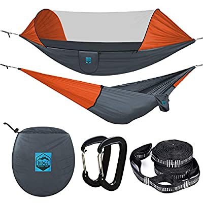 Ridge Outdoor Gear Camping Hammock with Mosquito Net - Ripstop Nylon - Ultralight Hammock Tent Bundle with Bug Netting, Straps, Carabiners