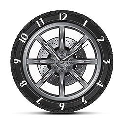 llsmting Wall Clocks Car Service Repair Garage Owner Tire Wheel Custom Car Auto Watch Vintage Cool Mechanic Ideal Car Workshop Living Room Bedroom Kitchen Office Hotel