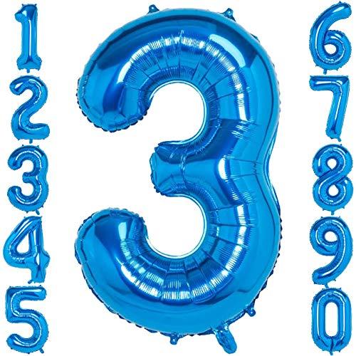 Meisohua Luftballon 3. Geburtstag Blau Nummer 0 to 9 40 Zoll Folienballon Helium Zahlenballons Riesenzahl für Party Hochzeit Dekoration Kindergeburtstag Luftballons Zahl 3 Blau