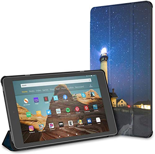 Case For Lighthouse Under The Starry Night Fire Hd 10 Tablet (9th/7th Generation, 2019/2017 Release) FireHd10TabletCase KindleFireTablet10Case Auto Wake/sleep For 10.1 Inch Tablet