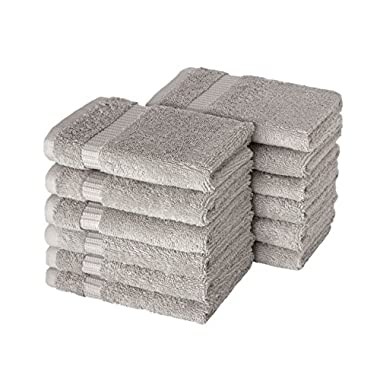 SALBAKOS Turkish Luxury Hotel & Spa 13 x13  Wash Cloth Set of 12 Turkish Cotton - OEKO-TEX Organic, Eco-Friendly (Stone Washcloths for Bath)