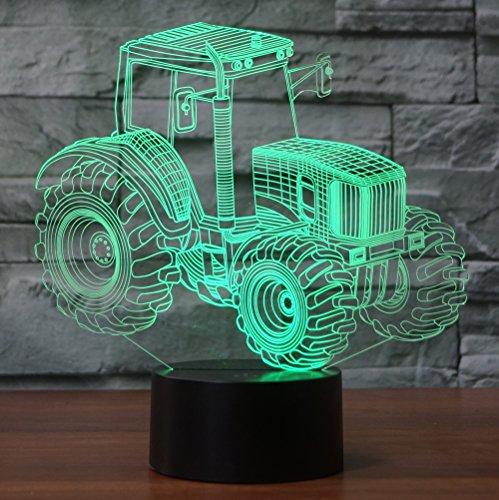 Traktor Hologramm 3d Lampe Nachttischlampe, Nachtlicht fürs Kinderzimmer, LED Lampe fürs Wohnzimmer