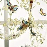 ZZM Panel de Cortina Transparente, Cortina de decoración Flor de Mariposa Cortina de Cortina Romana Tie Up Up Shade Rod Panel de Bolsillo Moderna decoración para el hogar, 1PC