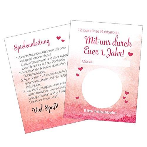 Ja-Hochzeitsshop Hochzeitsspiel (Set aus 12 kleinen Karten). Perfekt als Erinnerung an Eure Hochzeitsfeier. Hochwertige Qualität + Made in DE