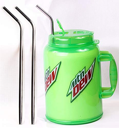 2 JUMBO 14' Stainless Steel 100 oz Straw HUGE SUPER LONG Drinking Wide Insulated Whirley Travel Mug FOAM Truck Stop Cup