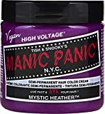 Manic Panic Mystic Heather Hair Dye - Classic High Voltage - Semi Permanent Hair Color - Mauve Shade With Pink Undertones - Glows in Blacklight - Vegan, PPD & Ammonia Free - For Coloring Hair