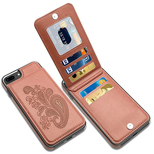 LakiBeibi iPhone 7 Plus Case with Card Holder, Flower Series Slim PU Leather iPhone 7 Plus Wallet Case for Girls Full Body Protective Case with Screen Protector for iPhone 7 Plus/iPhone 8 Plus, Brown
