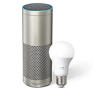 Echo Plus with built-in Hub – Silver + Philips Hue Bulb included