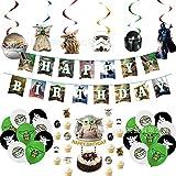 JPYH Juego de 44 Decoraciones para Fiesta de Yoda de bebé, Suministros de cumpleaños temáticos de Star Wars para niños y bebés, Globos de Yoda,Decoraciones para Fiesta De CumpleañOs