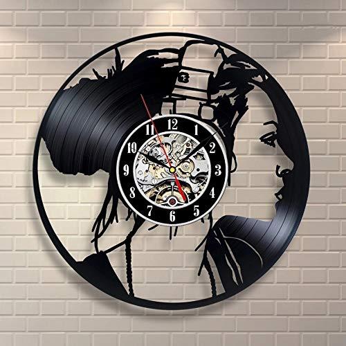 qweqweq Disco de Vinilo Reloj de Pared diseño Moderno Tema Musical Chica con Auriculares Estilo Retro Vintage Disco de Vinilo Reloj de Pared montado en la Pared decoración del hogar