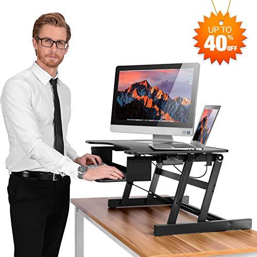 SMONET Desk Riser Height Adjustable Standing Desk Sit Stand Up Converter Laptop Stands Large Wide Desk Riser, 32' Tabletop Workstation Foldable fits Dual Monitor with Retractable Keyboard Tray - Black