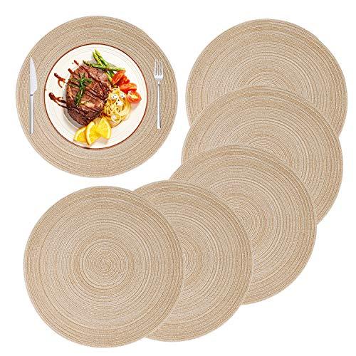 MaoXinTek Set de Table en Coton Rond Napperons Antidérapants Tressé Résistantes à la Chaleur pour Salle à Manger de Cuisine de Fête (Lot de 6)